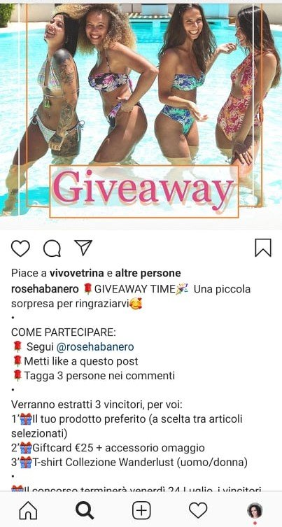 giveaway contest su instagram